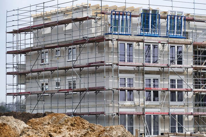 scaffolding surrounding a building